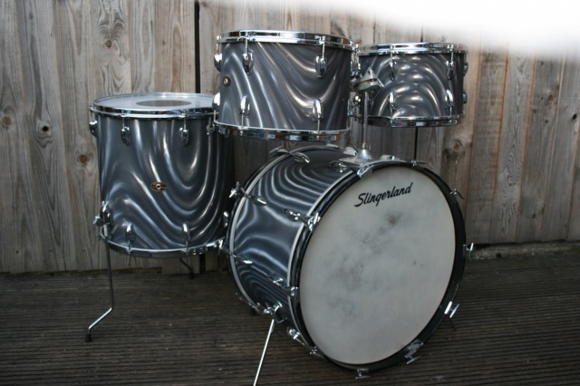 Slingerland 60s 'New Rock' Outfit in Charcoal Satin Flame