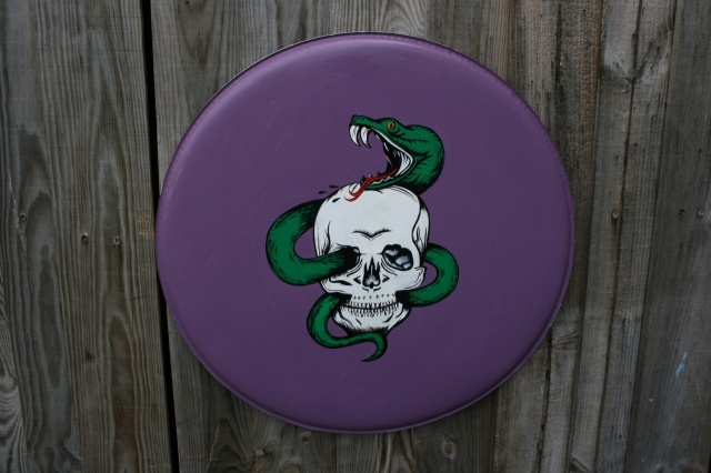 Thick n Skin Custom Hand Painted Snake and Skull 22'' Head