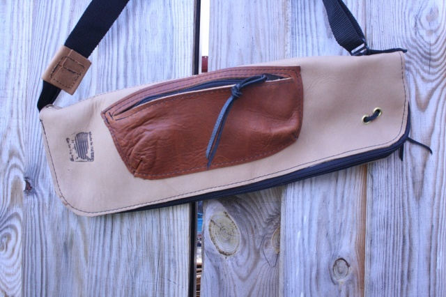 CacSac Gig Bags Streamline Stick Bag in Fawn NuBuck with Brown Leather