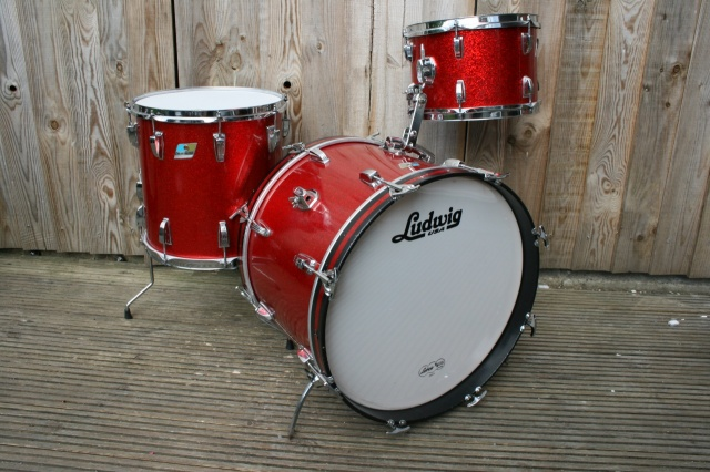 Ludwig Early 70's Downbeat Outfit in Red Sparkle