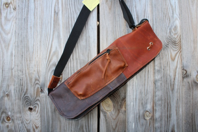 CacSac Gig Bags Streamline Stick Bag in Tri Tone NuBuck and Brown Leathers