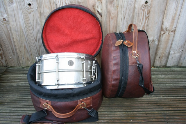 CacSac Gig Bags 14x6.5'' 'Distressed' Brown Leather Snare Bag
