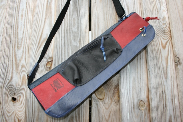 CacSac Gig Bags Streamline Stick Bag in Blue, Black and Red Leather