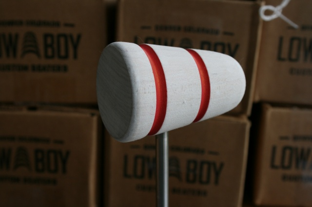 Low Boy Beaters 'Custom' White twin Red Stripes