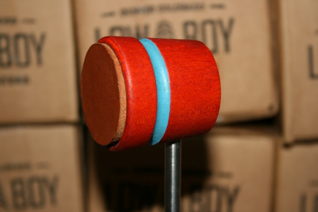 Low Boy Beaters Leather Daddy 'Light Weight' Orange w/Blue Stripe