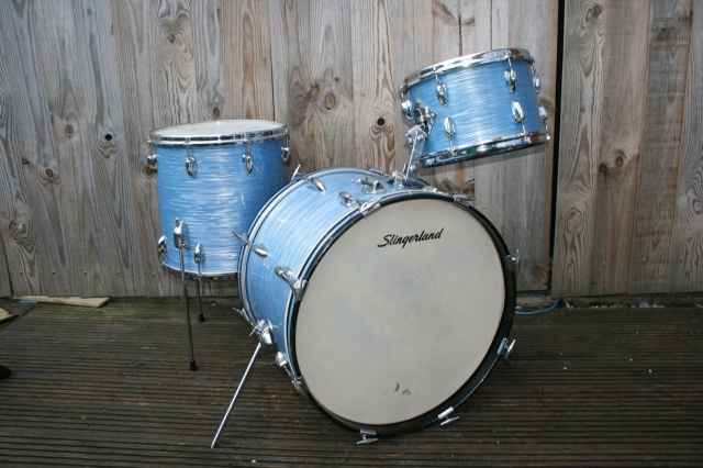Slingerland 1965 'Modern Jazz' Outfit in Blue Ripple Pearl
