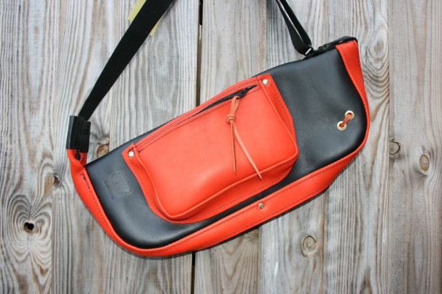 CacSac Gig Bags 'Two Tone Orange and Black Leather Stick Bag