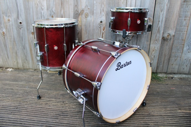 Barton Drum Co Vintage Maple Essential 20 12 14 in Cherry Red Satin