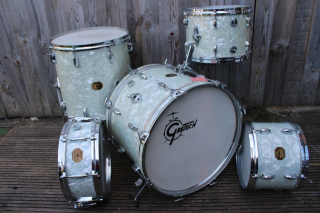 Gretsch Early 70's 'Stop Sign' Badge 'BeBop' Outfit and Snare In White Marine