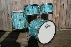 Gretsch '60's Round Badge 'Rock N Roll' Outfit in Aqua Satin Flame