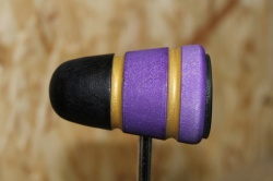 Lowboy Beaters Leather Daddy Black Purple with Gold Stripes