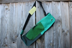 CacSac Gig Bags Streamline Stick Bag in Sea foam Green and Olive  Leather