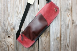 CacSac Gig Bags Streamline Stick Bag in Black and Red Leather