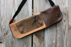 CacSac Gig Bags Streamline Stick Bag in NuBuck and Brown Leather